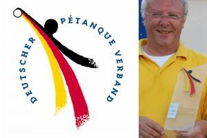 Dynamik und Schwung sind Eigenschaften des Pétanque-Sportes, die Nationalfarben und die siegelartige Textanordnung stehen für die Verbandsarbeit.