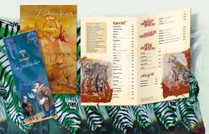 Eine exklusive Barkarte mit Bildern des Schweizer Artisten und Künstlers Rolf Knie