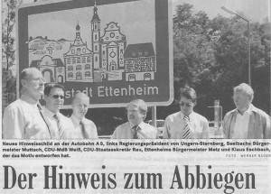 Ettenheim reduziert auf die Highligts – Werbeschild an der Autobahn A5