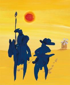 Don Quichotte und Sancho Panza als Illustration für die Speisekarte
