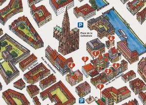 Info-Plan zum Auffinden diverser Lokale eines Kunden in Strasbourg.