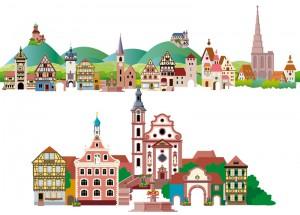 Werbung für Tourismus per Illustration, oben das Elsass, unten Ettenheim