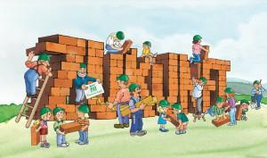 Illustration Familien bauen an der Zukunft