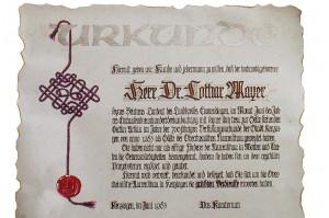 Urkunde für einen Förderer der Oberrheinischen Narrenschau.